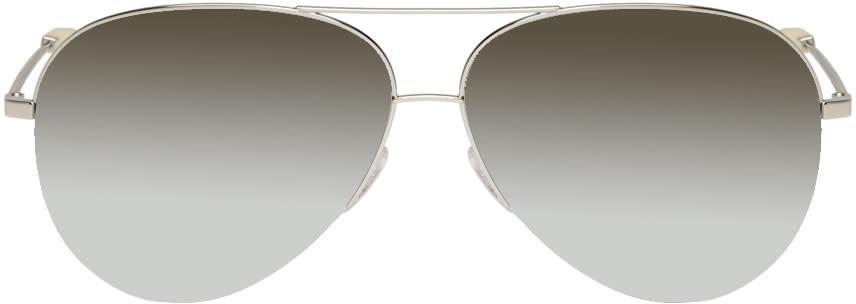 Victoria Beckham Silver Classic Victoria Aviator Sunglasses