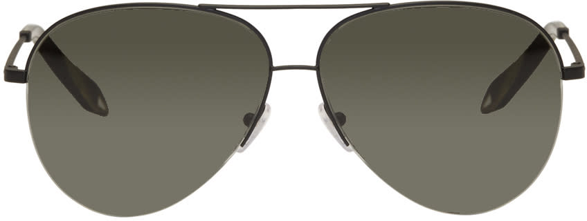 Victoria Beckham Black Classic Victoria Aviator Sunglasses