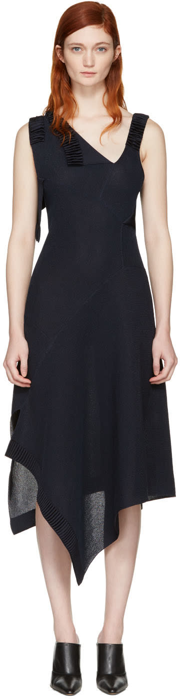 Victoria Beckham Navy Patchwork Dress