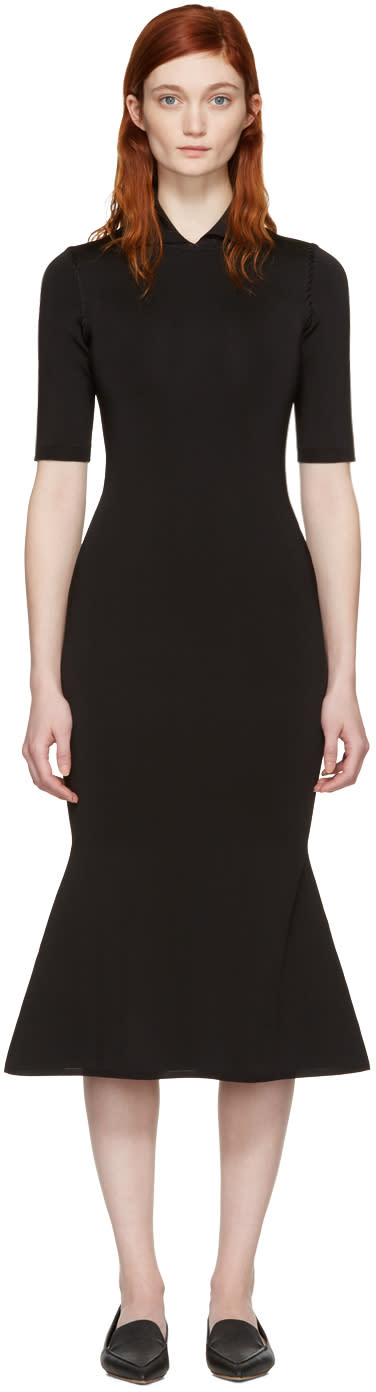Victoria Beckham Black Shine Flessage Dress