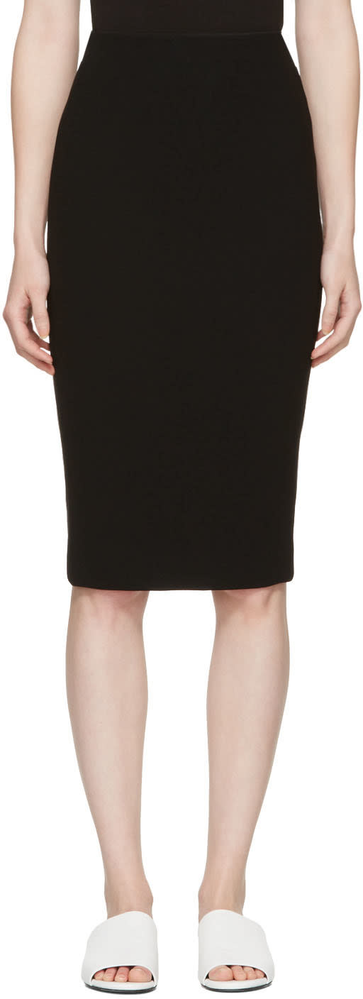Victoria Beckham Black Zip Pencil Skirt