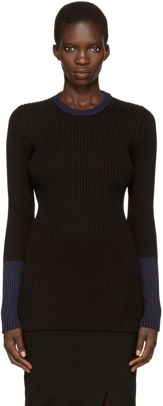 Victoria Beckham Black Ribbed Pullover