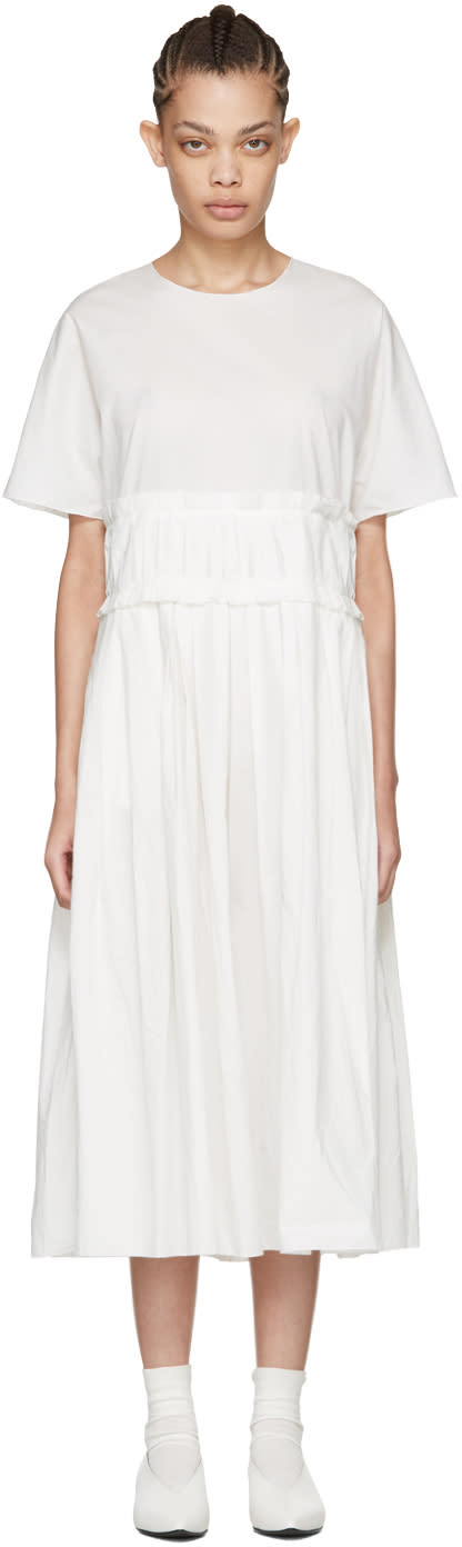 Sara Lanzi Off-white Pleated Poplin Dress