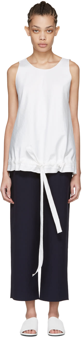 Sara Lanzi Off-white Drawstring Top