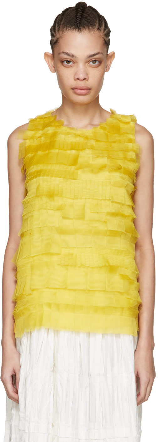 Sara Lanzi Yellow Silk Net Tank Top