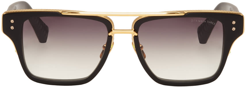 Dita Black Mach-three Aviator Sunglasses