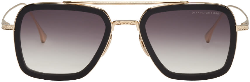 Image of Dita Black and Gold Flight.006 Aviator Sunglasses