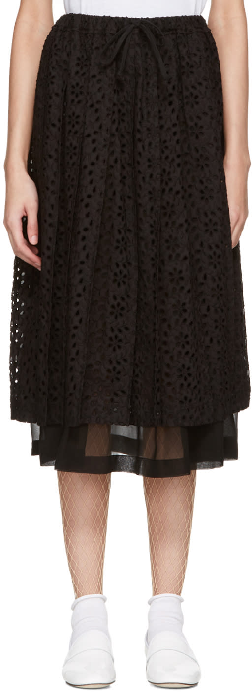 Tricot Comme Des Garcons Black Eyelet Lace Skirt