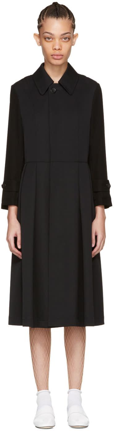 Tricot Comme Des Garcons Black Wool and Crepe Coat