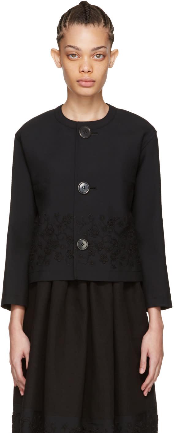 Tricot Comme Des Garcons Black Floral Embroidery Jacket