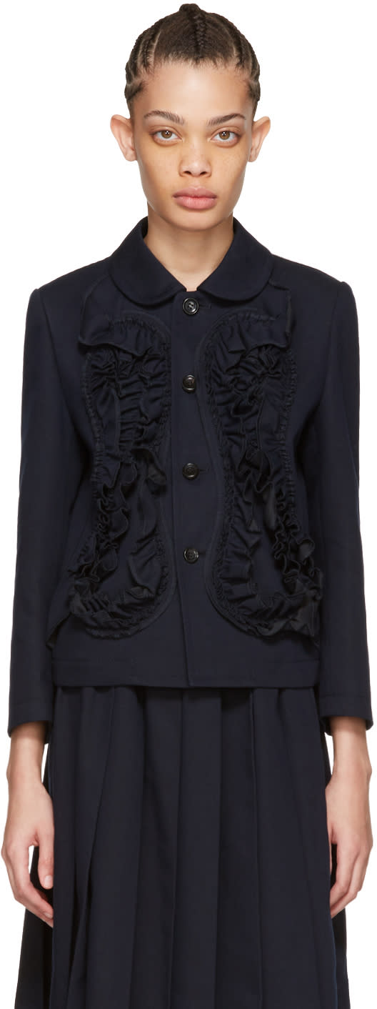 Tricot Comme Des Garcons Navy Ruffle Jacket