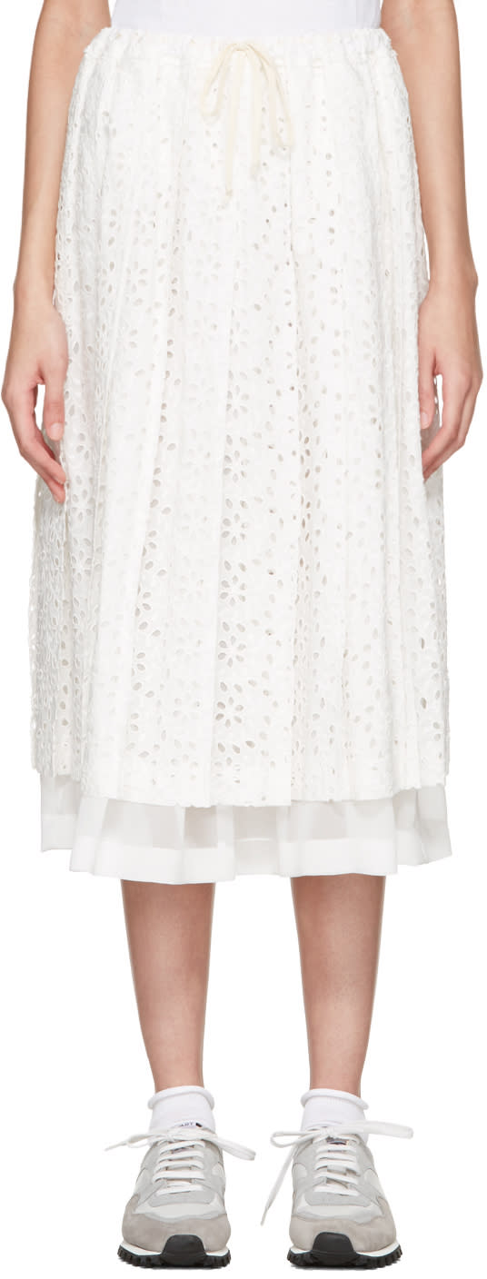 Tricot Comme Des Garcons White Eyelet Lace Skirt