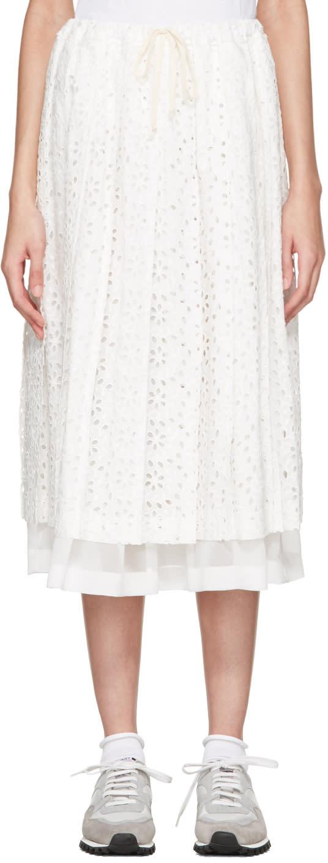 Tricot Comme Des Garçons White Eyelet Lace Skirt