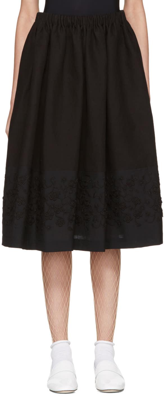 Tricot Comme Des Garçons Black Floral Embroidery Skirt