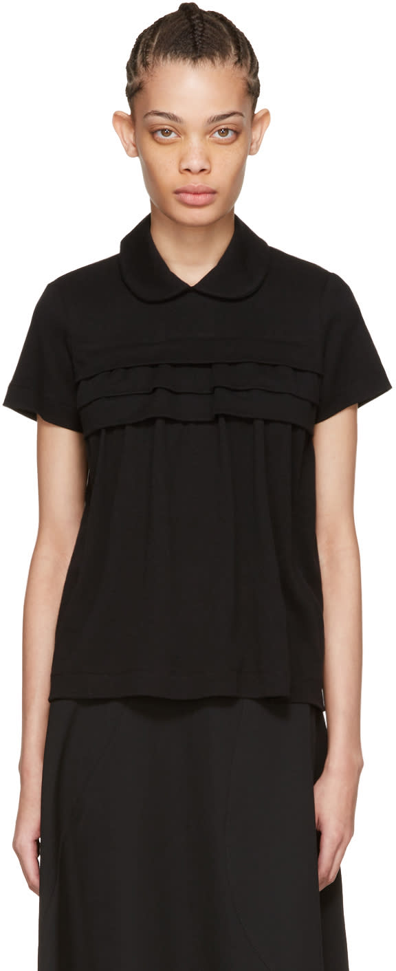 Tricot Comme Des Garcons Black Layered Ruffle Polo