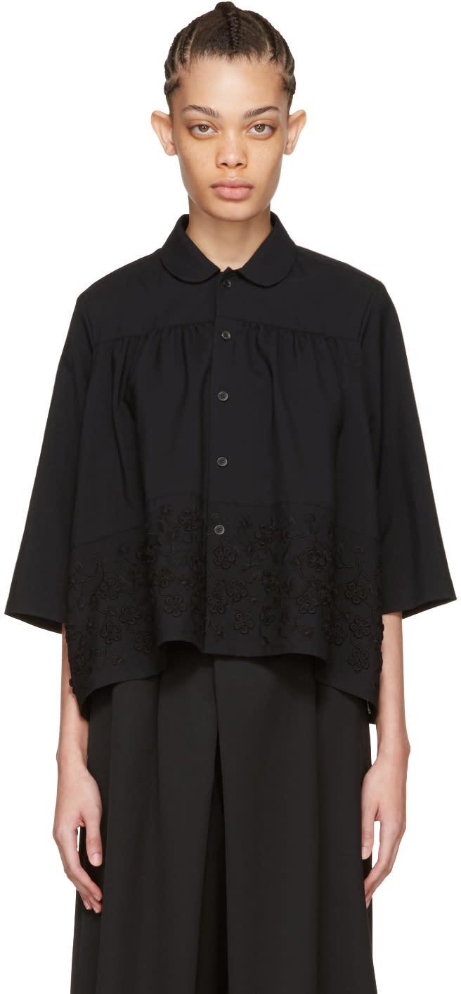 Tricot Comme Des Garcons Black Floral Embroidery Shirt