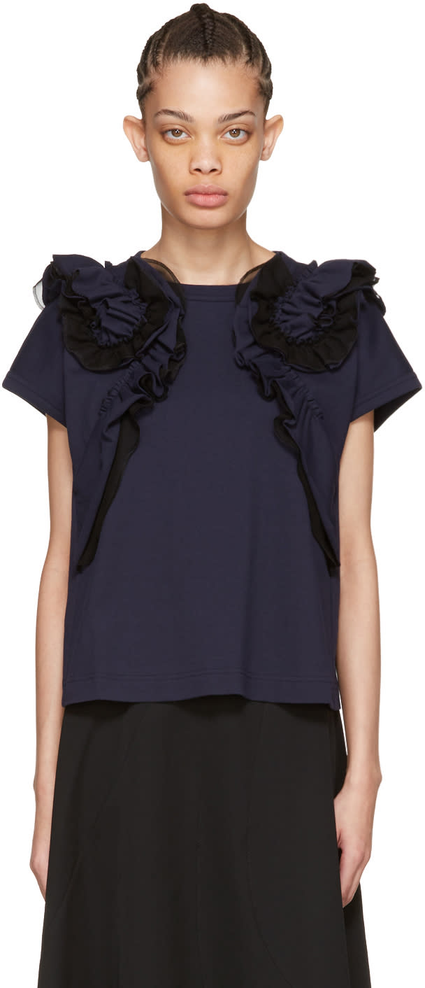 Tricot Comme Des Garcons Navy Ruffle T-shirt