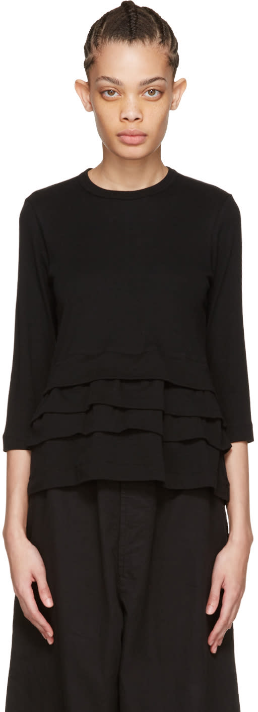 Tricot Comme Des Garcons Black Layered Ruffle T-shirt