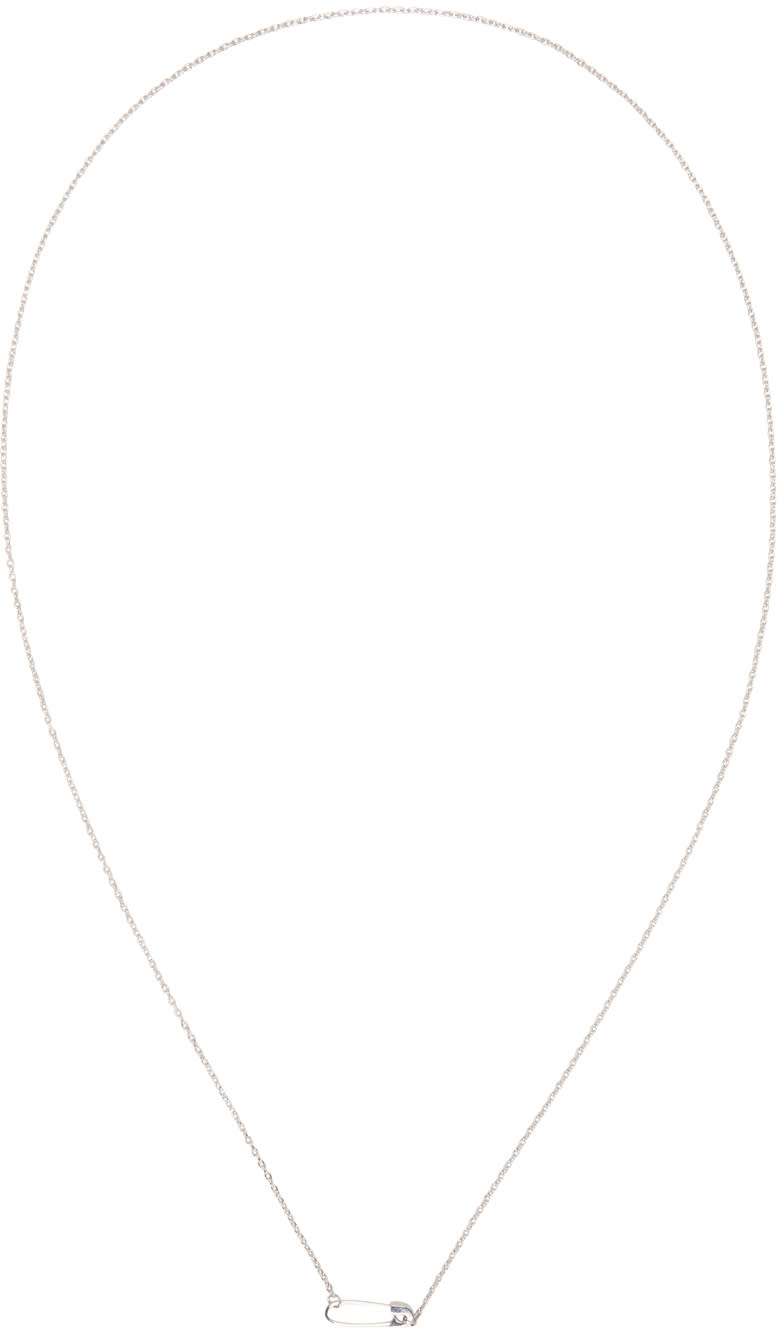 Lauren Klassen Ssense Exclusive Silver Tiny Safety Pin Necklace
