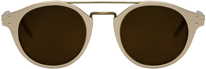 Bottega Veneta Gold Retro Pantos Sunglasses