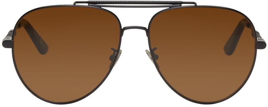 Bottega Veneta Black Teardrop Aviator Sunglasses