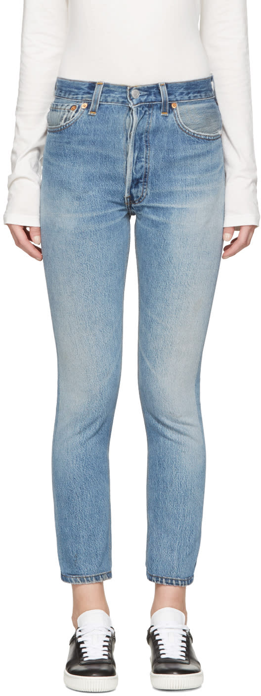 Re-done Blue High-rise Ankle Crop Jeans