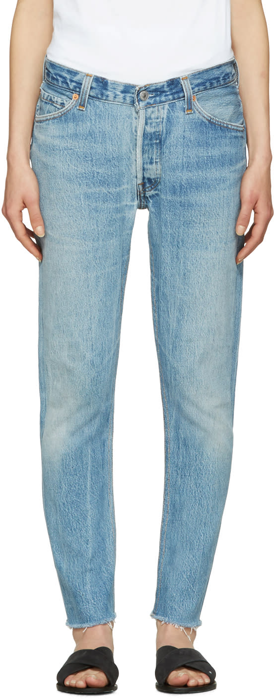 Re-done Blue Relaxed Crop Jeans