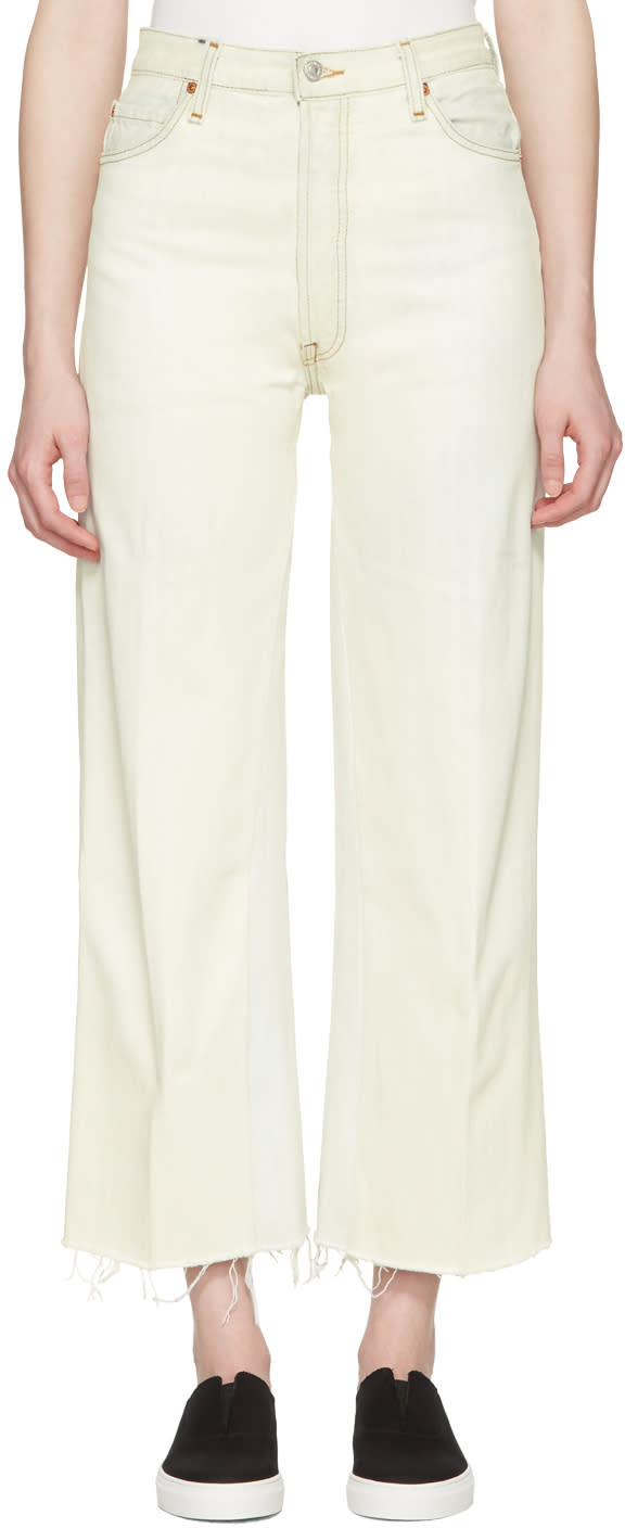 Re-done White High-rise Wide-leg Crop Jeans