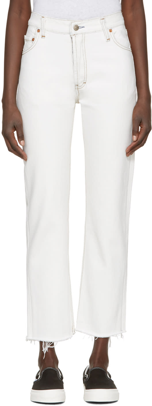 Re-done White High-rise Straight Crop Jeans