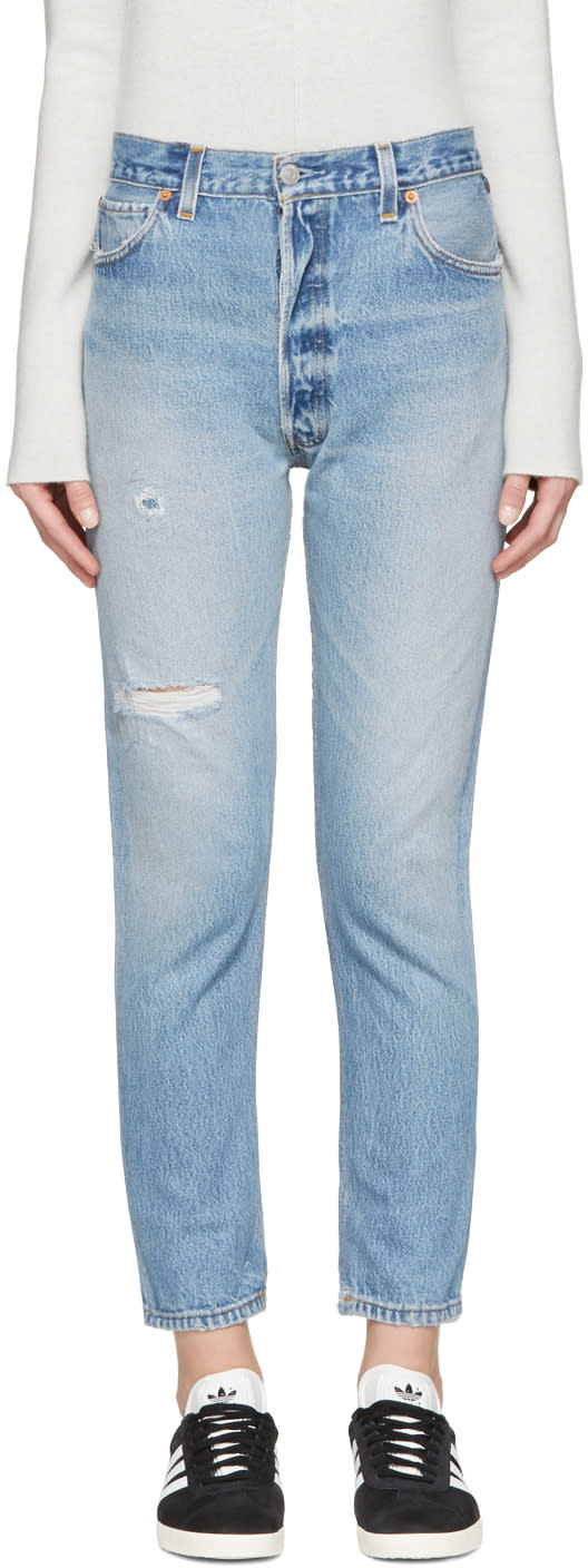 Re-done Blue Distressed High Rise Ankle Crop Jeans
