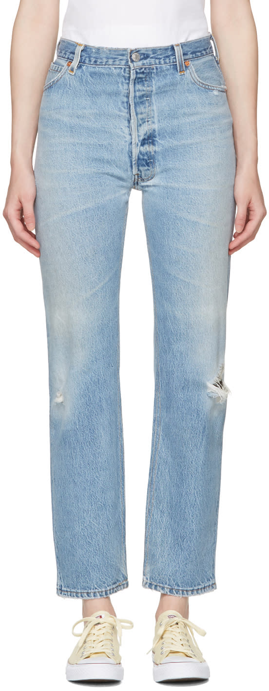 Re-done Blue Ultra High-rise Straight Jeans