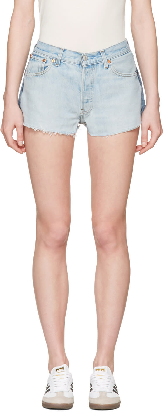 Re-done Blue Two-tone Denim Shorts