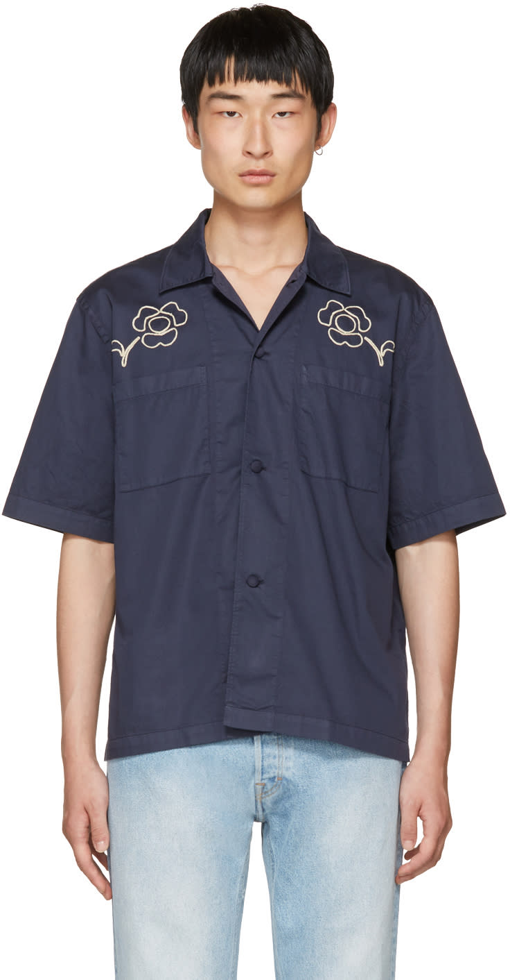 Our Legacy Navy splash Box Shirt