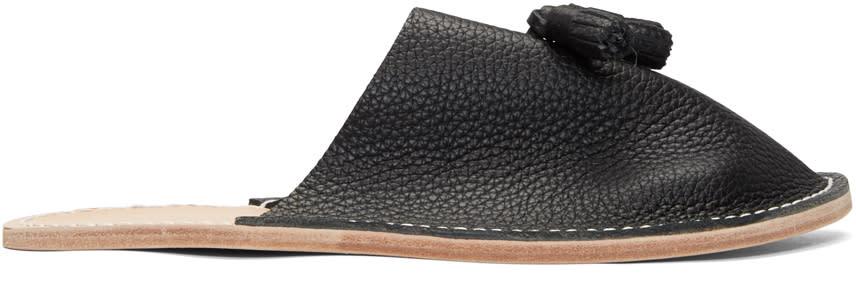 Hender Scheme Black Tassel Slipper Flats