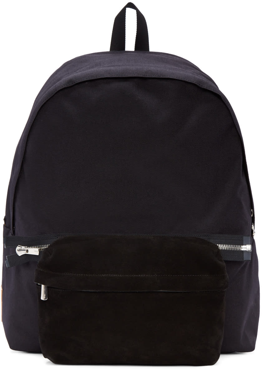 Hender Scheme Black Nylon and Suede Backpack