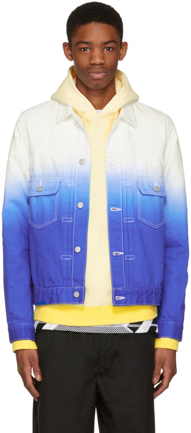Ganryu White and Blue Denim Tie-dye Degrade Jacket