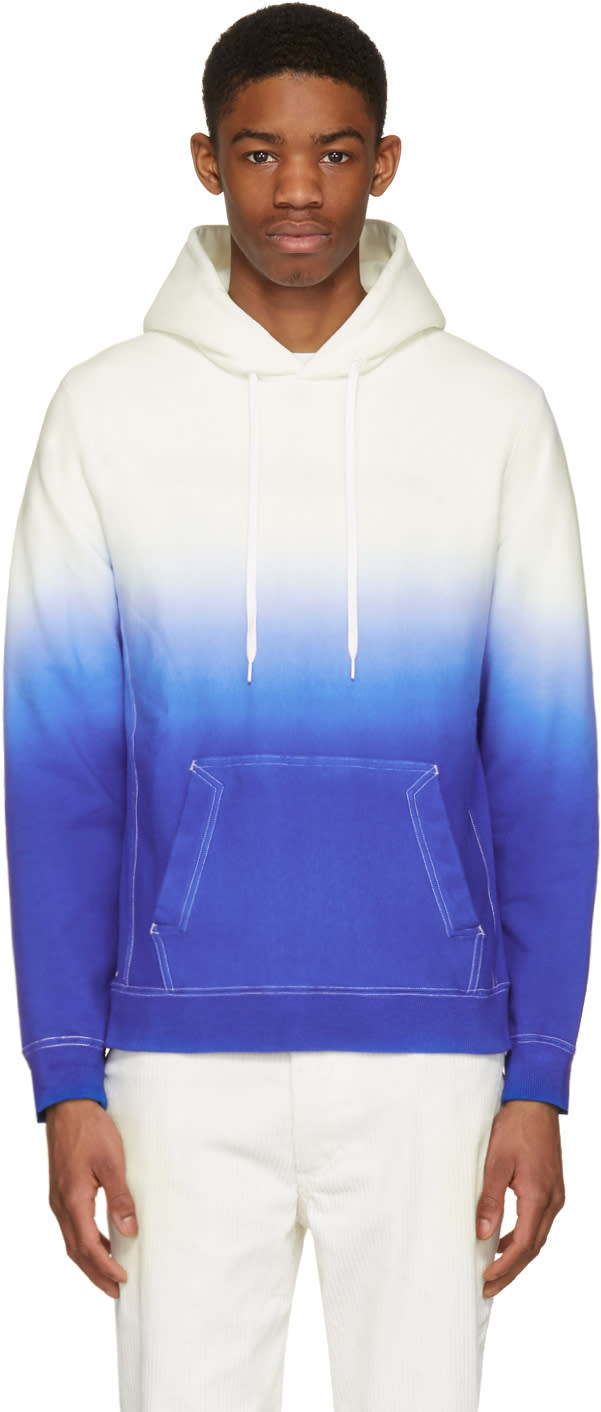 Ganryu White and Blue Tie-dye Degrade Hoodie