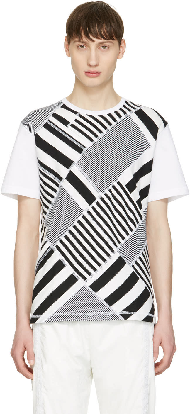 Image of Ganryu Black and White Multi Striped T-shirt