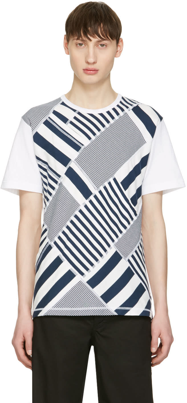 Image of Ganryu Navy and White Multi Striped T-shirt
