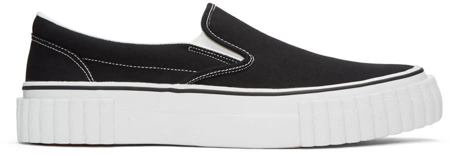Ganryu Black Canvas Slip-on Sneakers