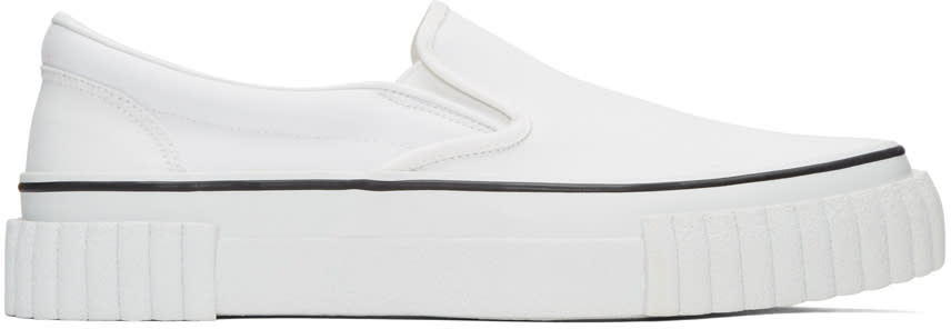 Ganryu White Canvas Slip-on Sneakers