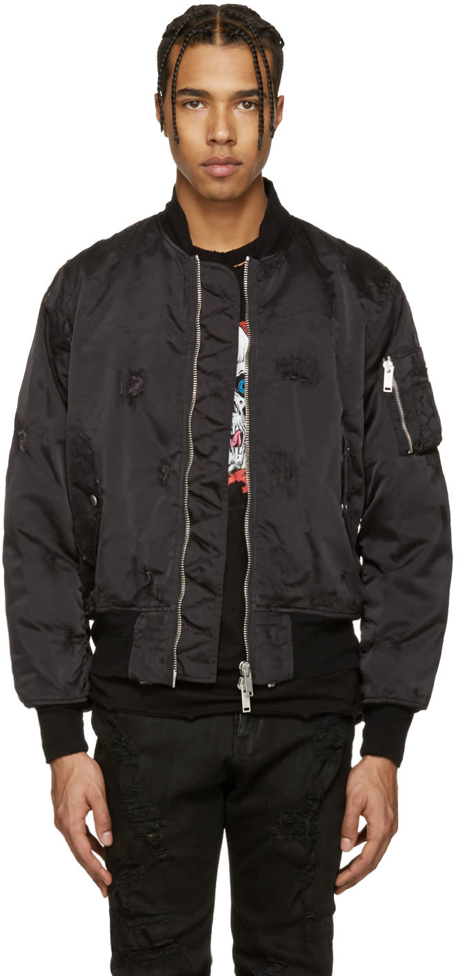 Unravel Black Nylon Distressed Bomber Jacket