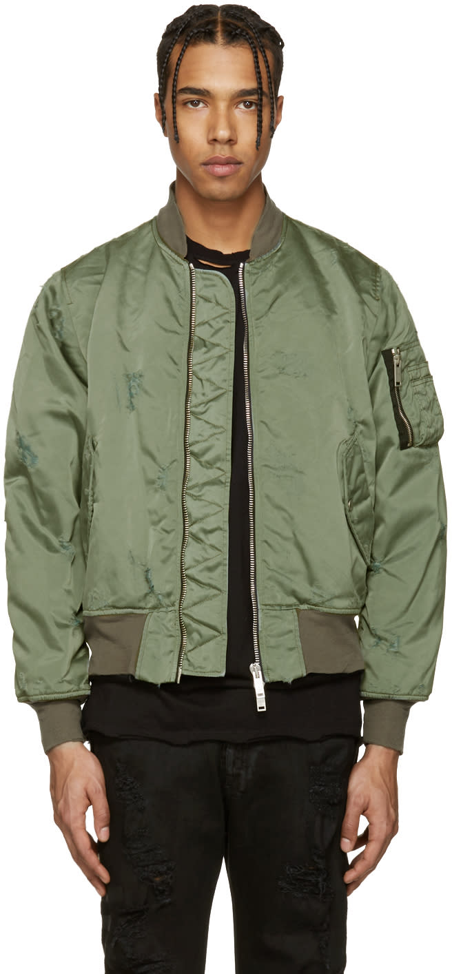 Unravel Green Distressed Bomber Jacket