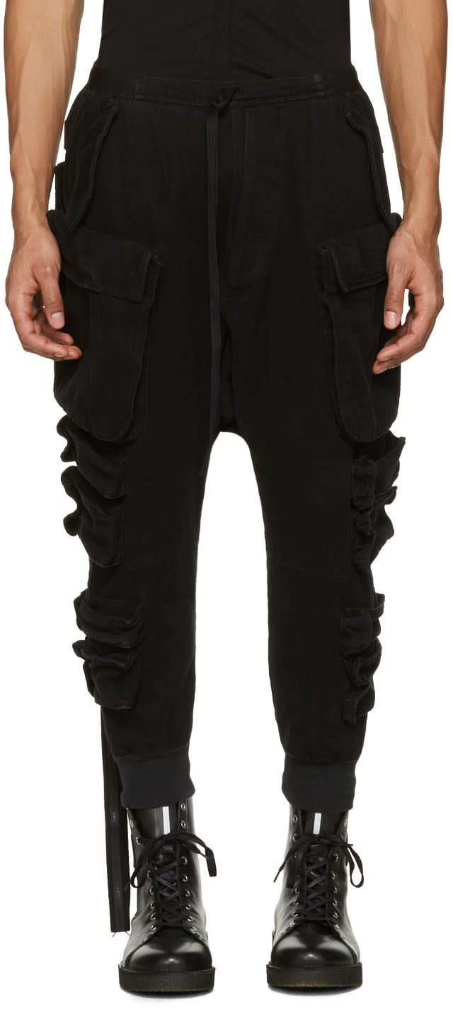 Unravel Black Parachute Cargo Pants