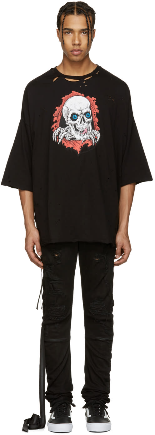 Unravel Black Distressed Brigade T-shirt
