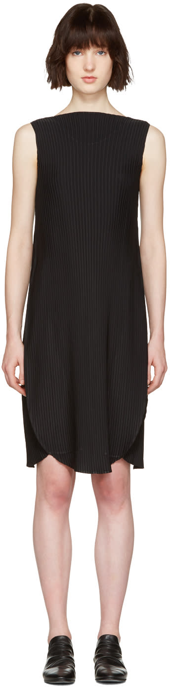 Issey Miyake Black Pleated A-line Dress