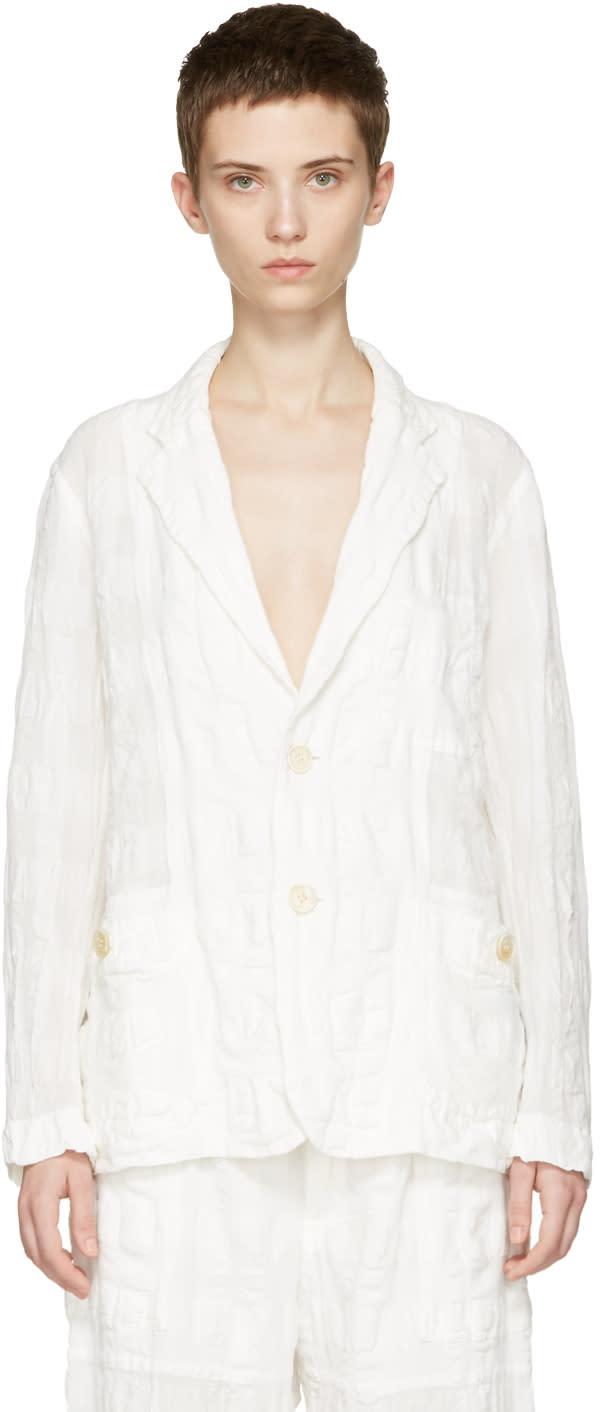 Issey Miyake White Linen Check Blazer