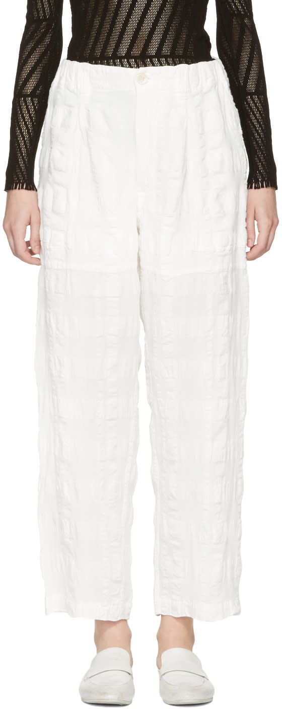 Issey Miyake White Linen Check Trousers