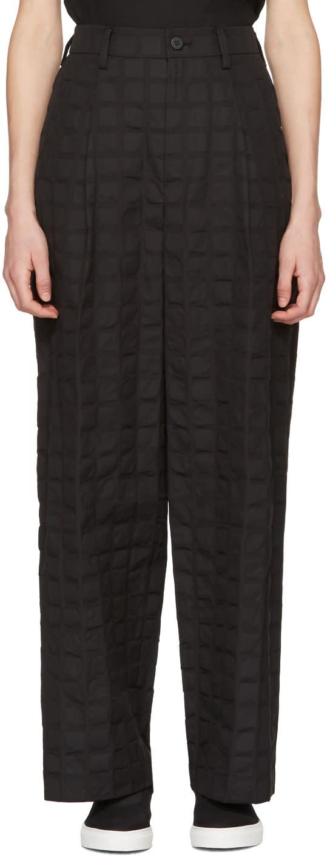 Issey Miyake Black Crumpled Grid Trousers