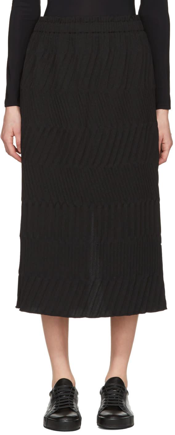 Issey Miyake Black Tribal Pleated Skirt